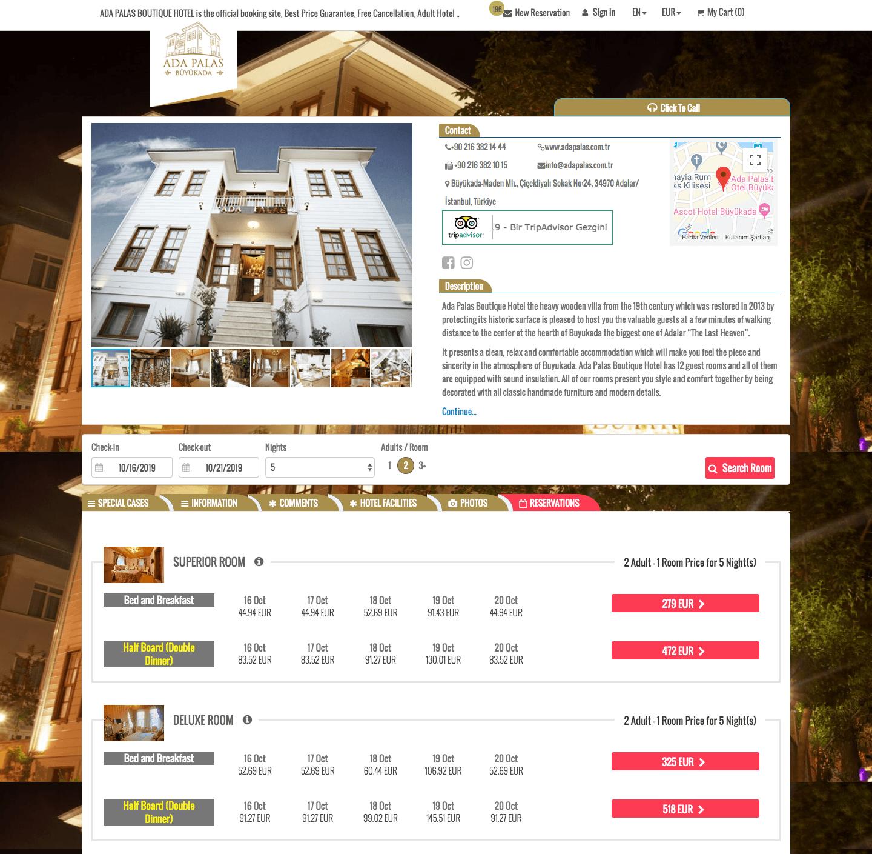 Hotel Online Booking engine, Otel Rezervasyon sayfası
