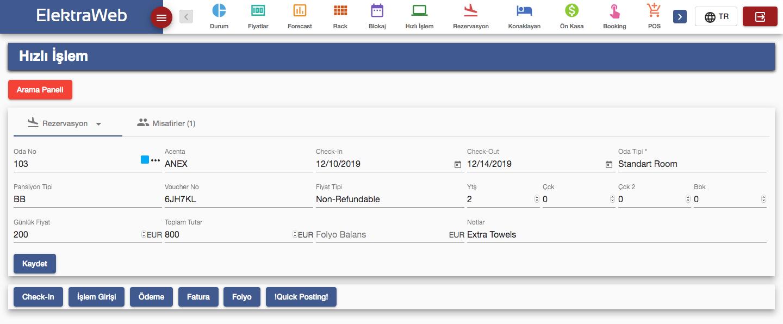 Otel Programı Hızlı İşlem-Elektraweb Otel Yönetim Sistemi& Otel Yazılımı