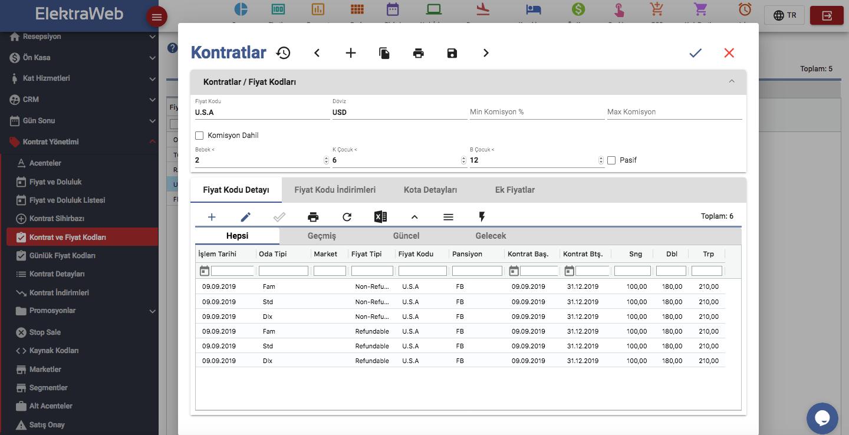ElektraWeb Kontratlar ekranı