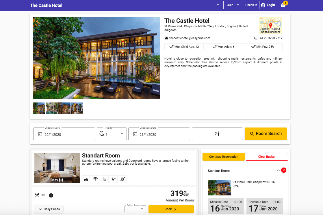 Otel Rezervasyon sayfası , Hotel Software Online booking Page