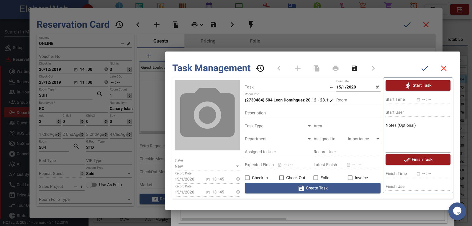 Hotel Program Fully-Featured PMS-Elektraweb Hotel Management System Task Management