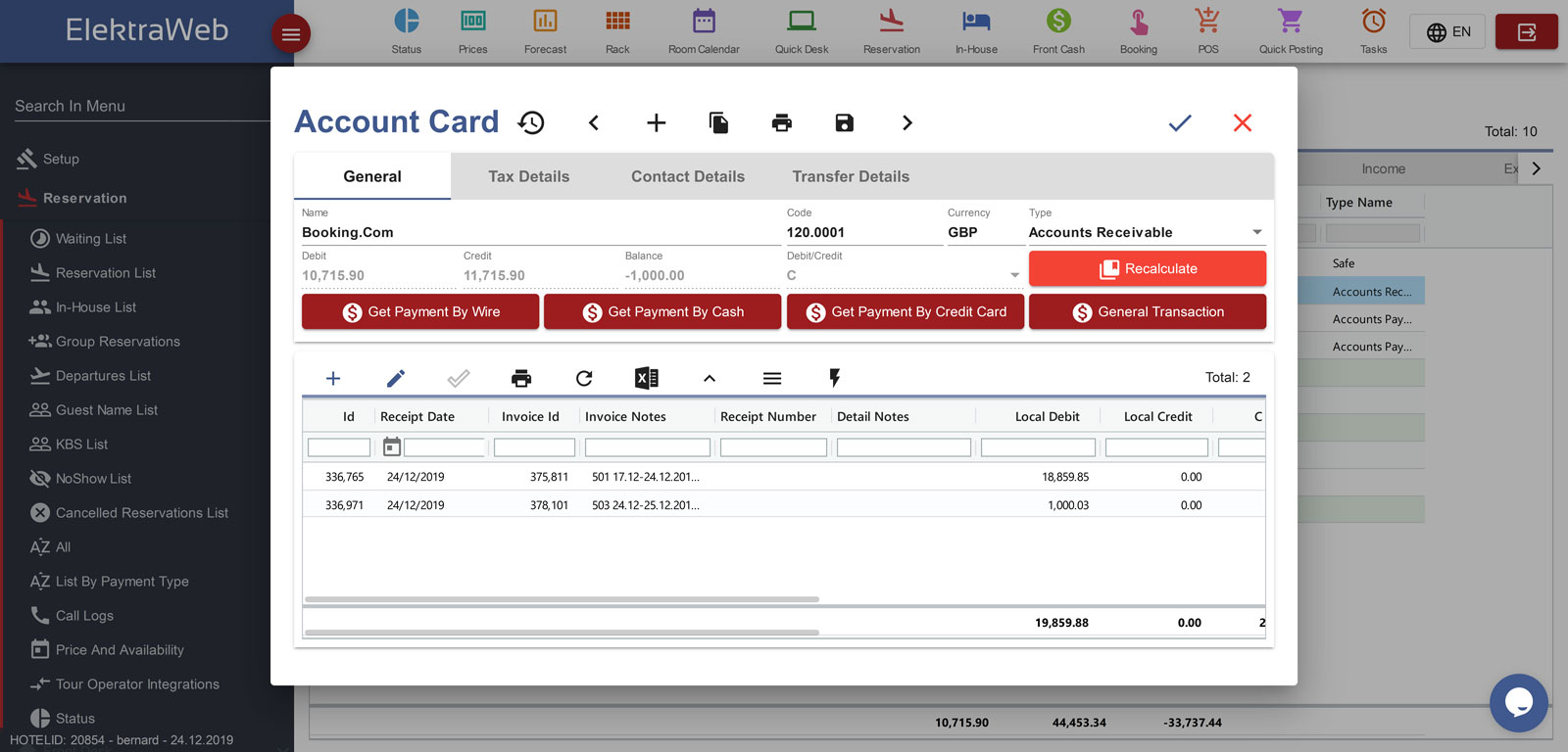Hotel Program Fully-Featured PMS-Elektraweb Hotel Management System Invoice Accounts Cards
