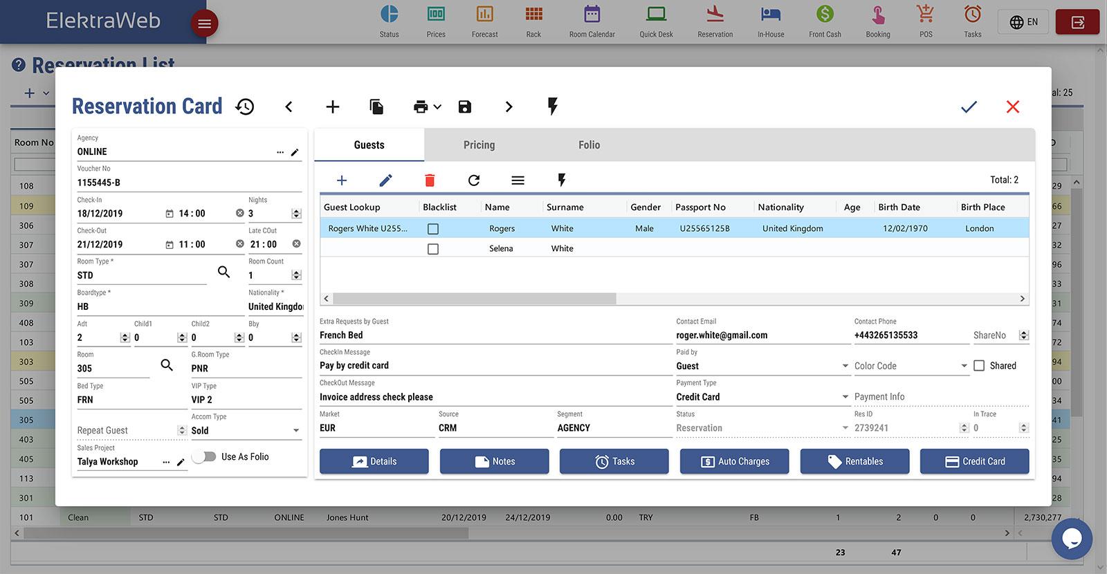 Hepsi Bir Arada Web Tabanlı Otel Otomasyonu-Elektraweb Otel Yönetim Sistemi PMS Rezervasyon Kartı