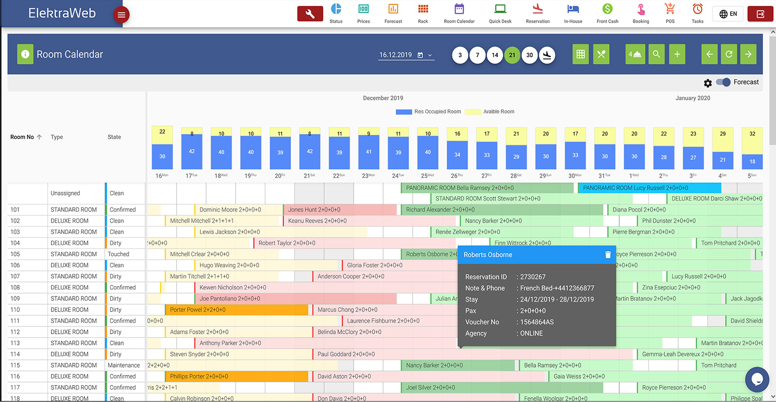 Hotel Program Fully-Featured PMS-Elektraweb Hotel Management System Room Calendar,Hotel Software