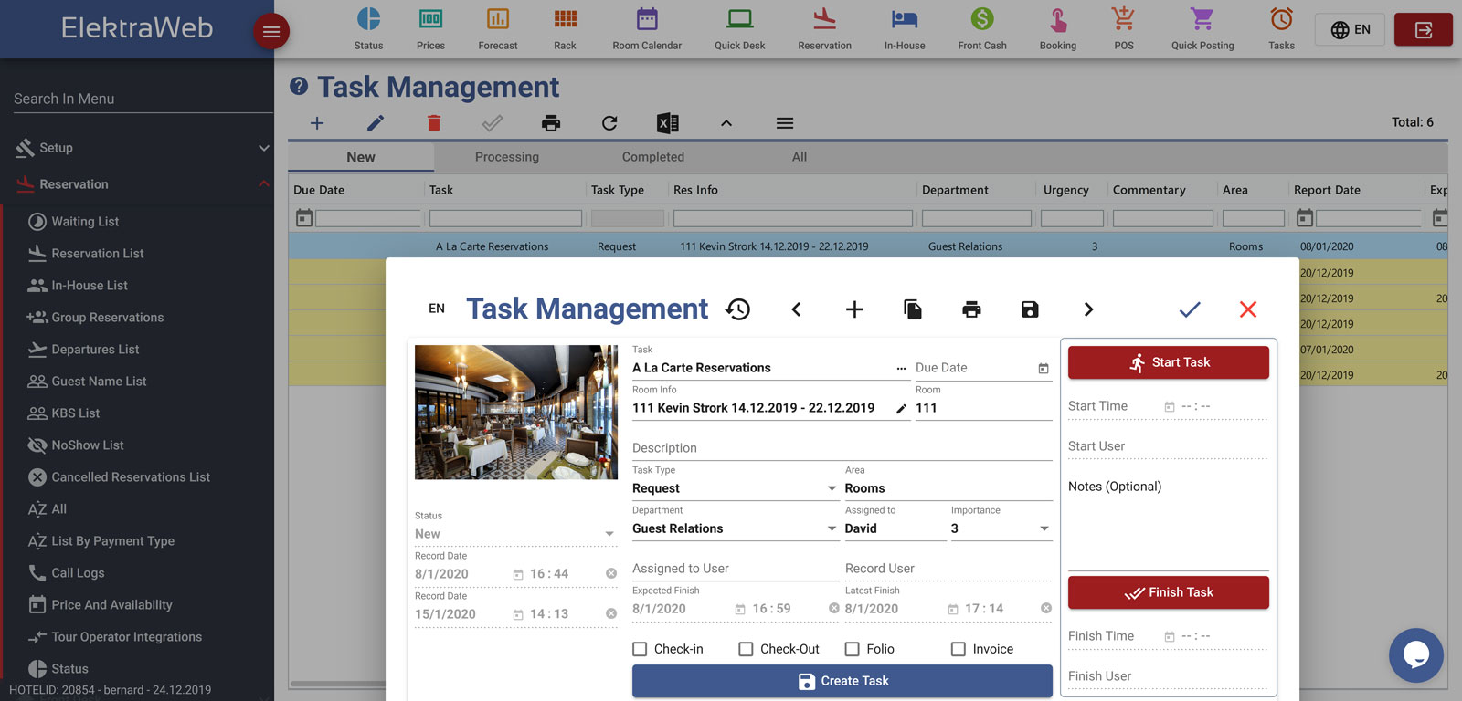 Hotel Program Task Management-Elektraweb Hotel Management System & Hotel Software