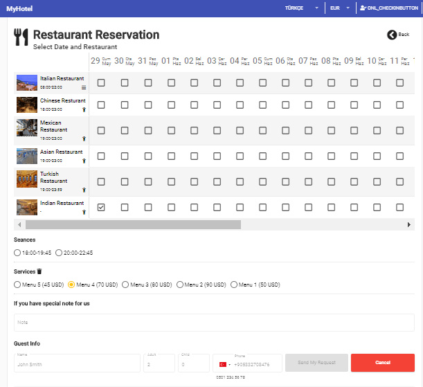 Elektraweb guess applicaiton for Hotels